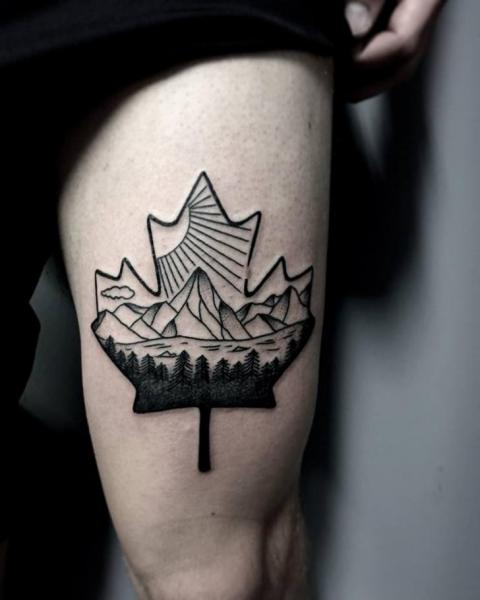 Leaf Thigh Mountain Tattoo by Art Faktors