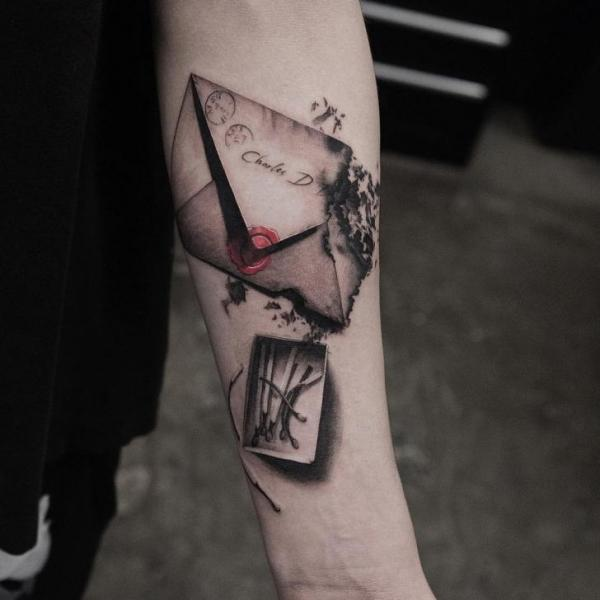 Arm 3d Letter Tattoo by Bang Bang