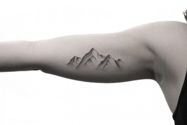 arm dotwork mountain tattoo by bang bang. Black Bedroom Furniture Sets. Home Design Ideas