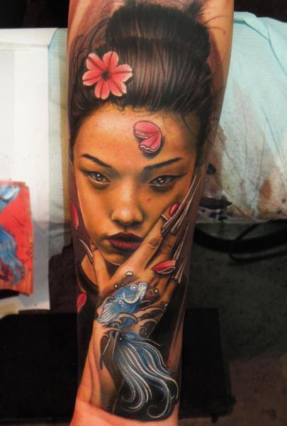 Arm Porträt Japanische Geisha Tattoo von Bang Bang