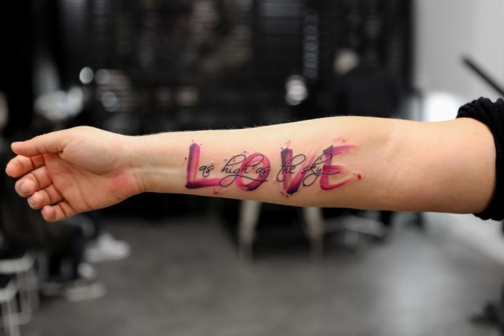 Arm Lettering Fonts Water Color Tattoo by Bang Bang
