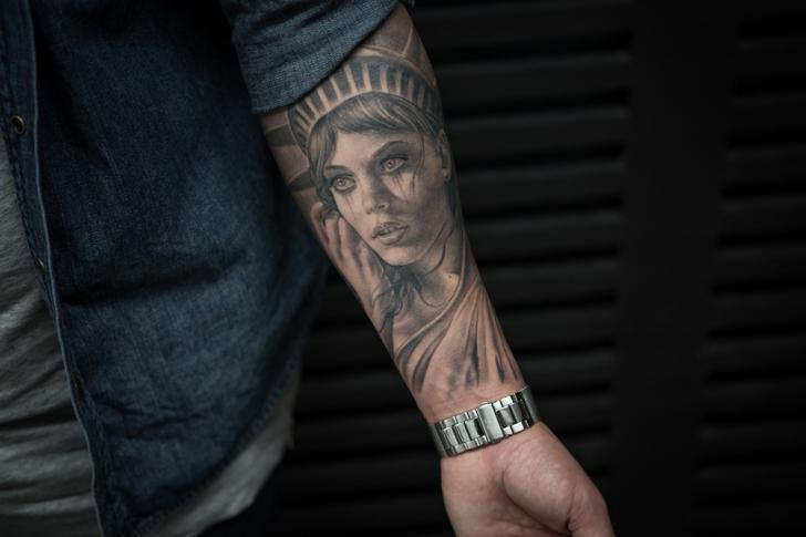 Arm Portrait Statue Liberty Woman Tattoo by Bang Bang