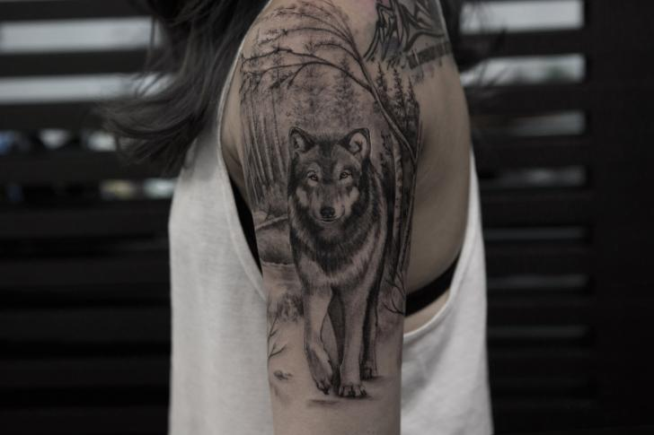 Arm Realistic Wolf Forest Tattoo by Bang Bang