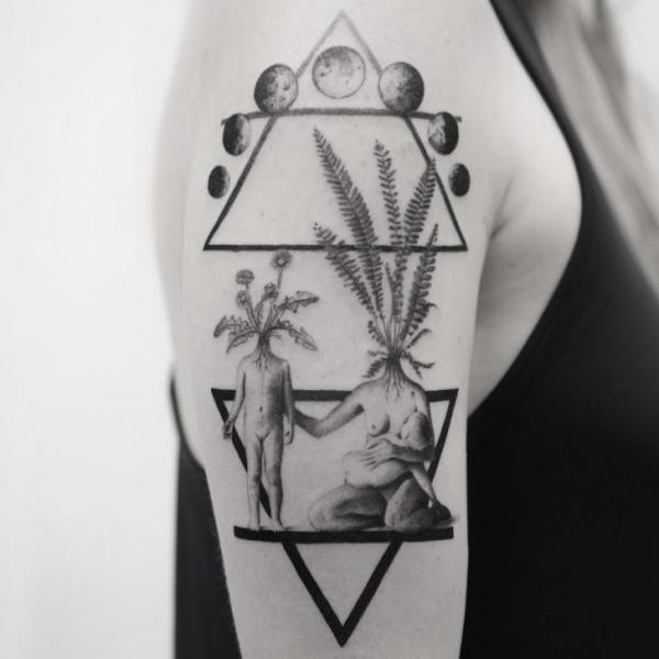 Shoulder Arm Abstract Triangle Tattoo by Bang Bang