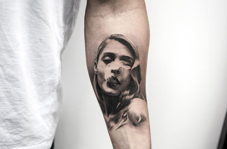 Arm Portrait Smoke Woman Tattoo by Bang Bang
