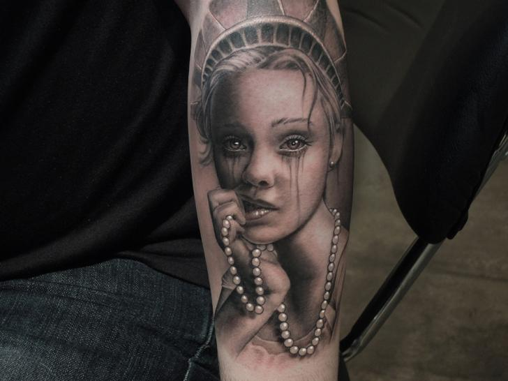 Arm Portrait Realistic Woman Tattoo by Bang Bang