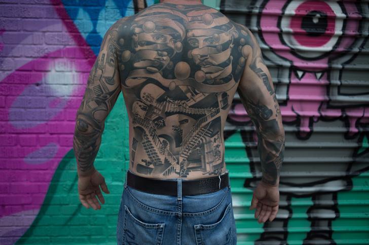 Back Optical Esher Tattoo by Bang Bang