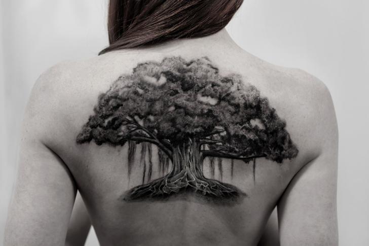Realistic Back Tree Tattoo by Bang Bang