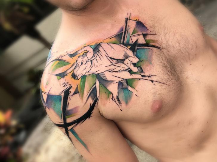 Chest Bull Tattoo by Bang Bang
