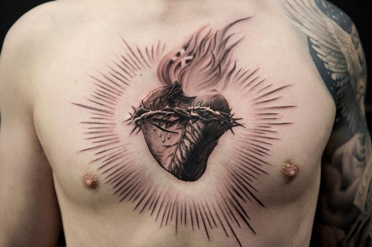 Chest Heart Religious Tattoo by Bang Bang