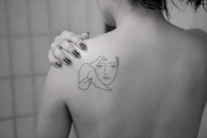 Portrait Back Line Dove Tattoo by Bang Bang