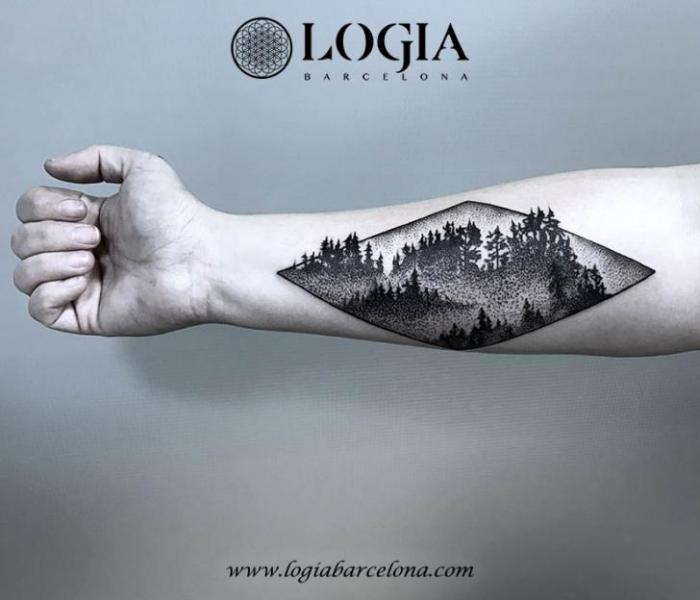 Arm Dotwork Forest Tattoo by Logia Barcelona