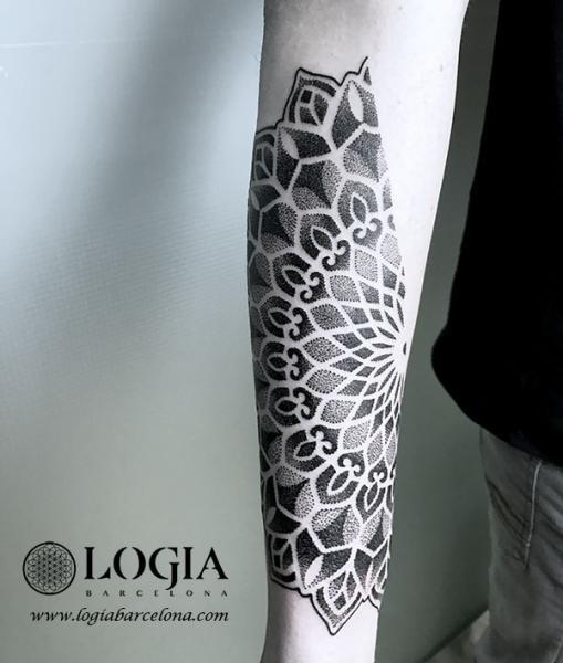 Arm Dotwork Geometric Tattoo by Logia Barcelona