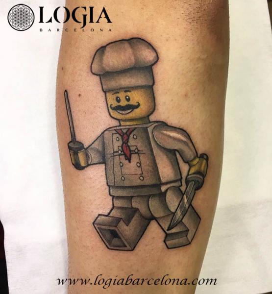 Arm Lego Chef Tattoo by Logia Barcelona