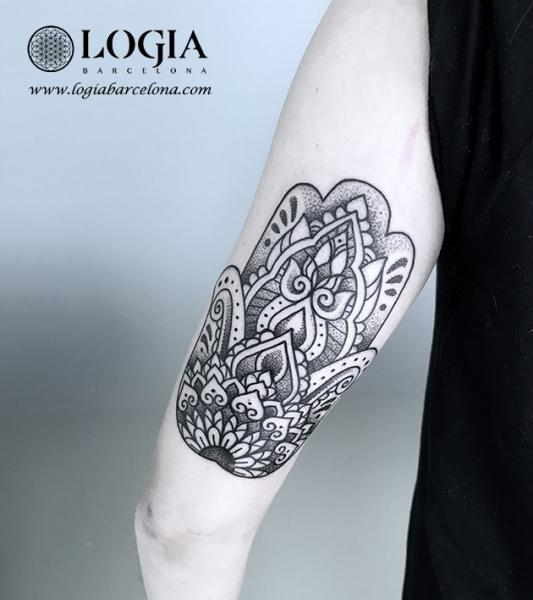 Arm Dotwork Mandala Tattoo by Logia Barcelona