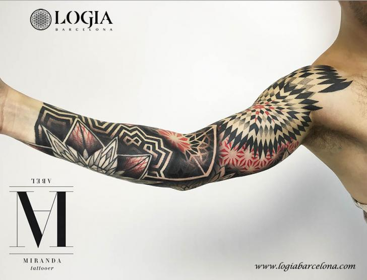 Arm Geometric Sleeve Tattoo by Logia Barcelona