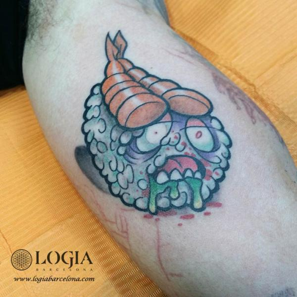 Arm Character Sushi Tattoo by Logia Barcelona