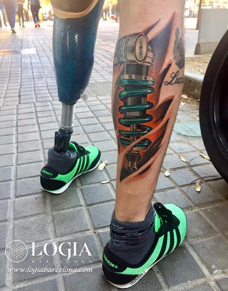 Biomechanical Calf Tattoo by Logia Barcelona