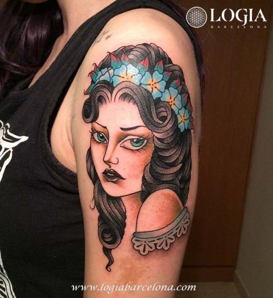 Arm Women Gypsy Tattoo by Logia Barcelona