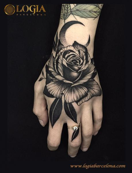 Flower Hand Rose Tattoo by Logia Barcelona