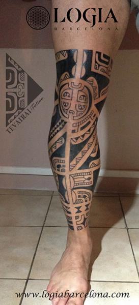 Calf Leg Tribal Maori Tattoo by Logia Barcelona
