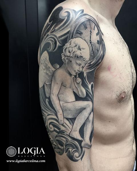 Shoulder Arm Clock Angel Tattoo by Logia Barcelona