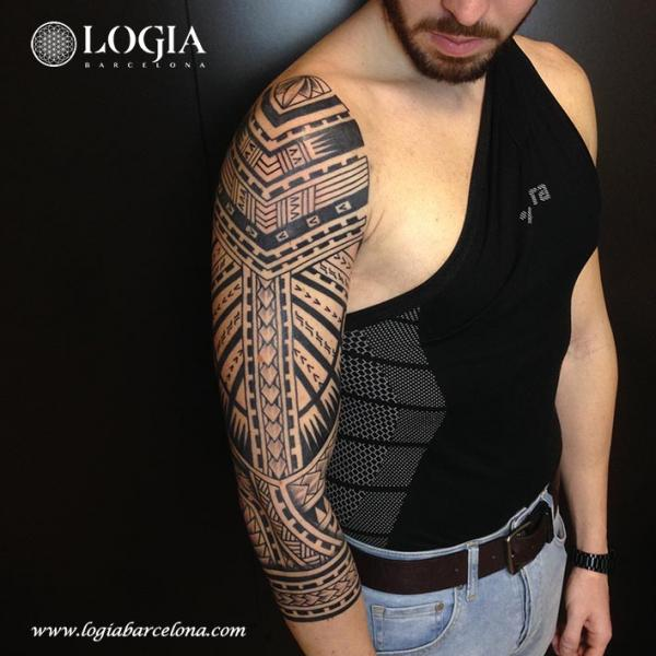 Tribal Maori Sleeve Tattoo by Logia Barcelona