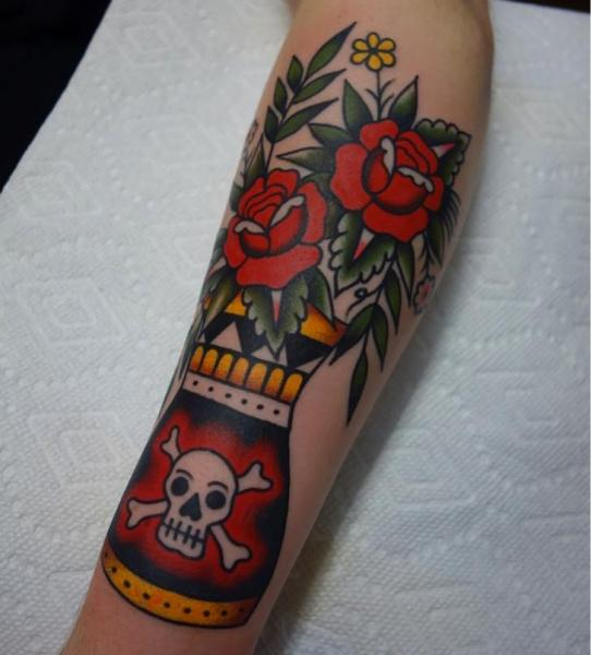 Arm Flower Skull Tattoo by Kings Avenue Tattoo