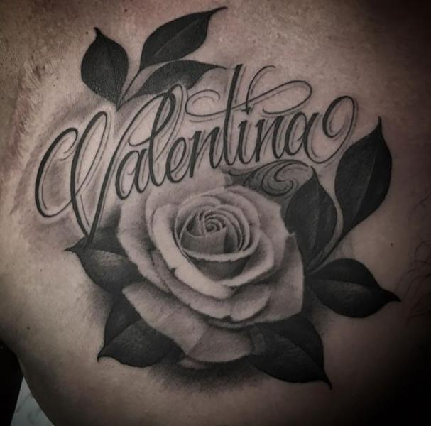Chest Lettering Rose Tattoo By Kings Avenue Tattoo