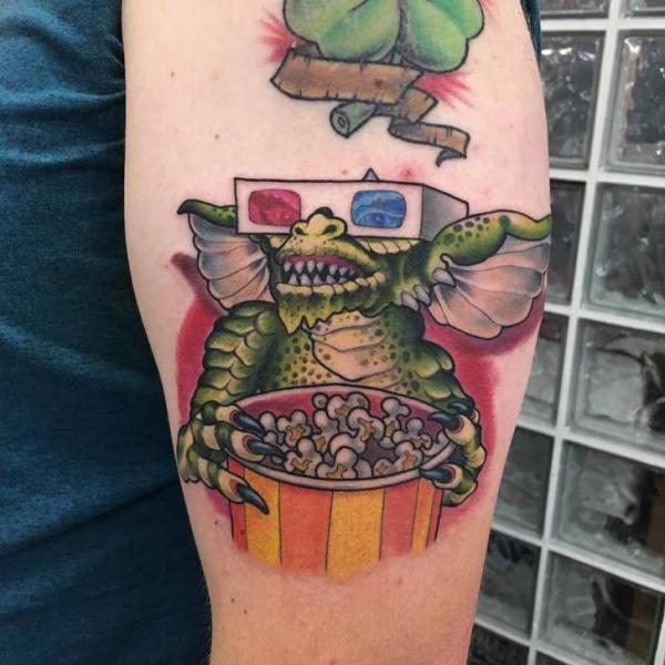 Arm Gremlin Pop Corn Tattoo by Good Kind Tattoo