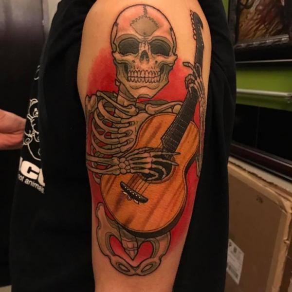 Arm Guitar Skeleton Tattoo by Good Kind Tattoo