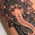 Religious Ganesh Thigh tattoo by Good Kind Tattoo
