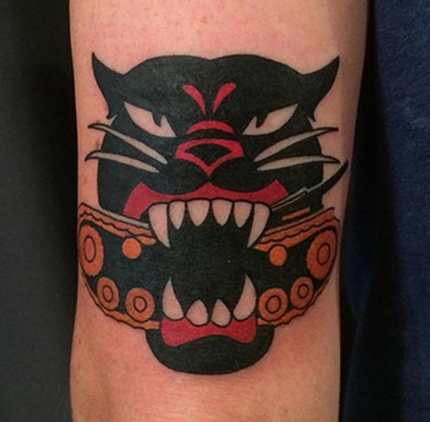 Arm Cat Tattoo by Electric Anvil Tattoo