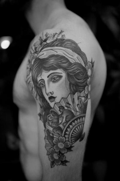 Arm Woman Tattoo by Electric Anvil Tattoo