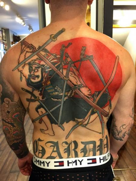 Japanese Back Samurai Tattoo by Electric Anvil Tattoo