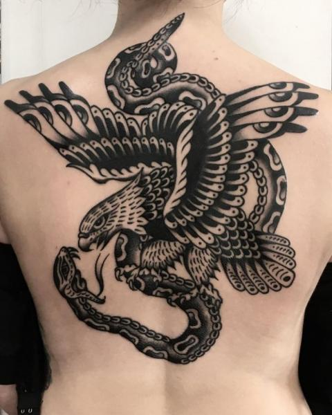 Snake Back Eagle Tattoo by Electric Anvil Tattoo