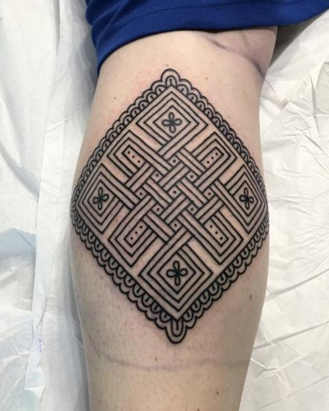 Calf Geometric Tattoo by Electric Anvil Tattoo