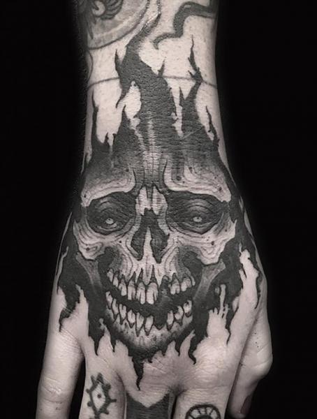 Skull Hand Tattoo by Electric Anvil Tattoo