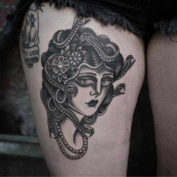 Snake Gypsy Thigh Tattoo by Electric Anvil Tattoo