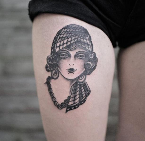 Gypsy Thigh Woman Tattoo by Electric Anvil Tattoo