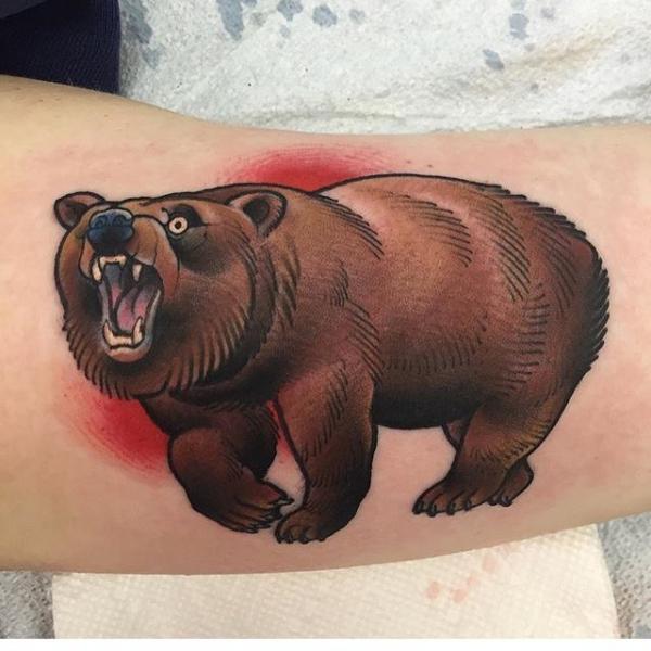 Arm Bear Tattoo by Black Anvil Tattoo
