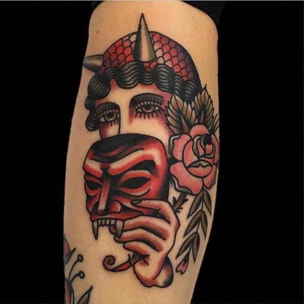 Arm Old School Mask Gypsy Tattoo by Black Anvil Tattoo
