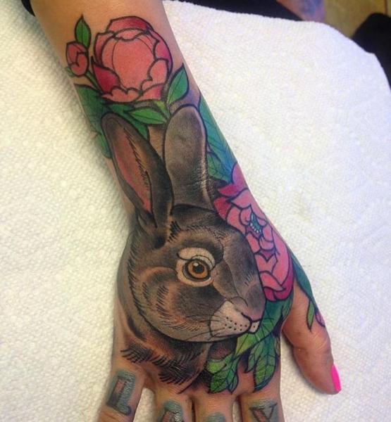 Arm Flower Rabbit Tattoo by Black Anvil Tattoo