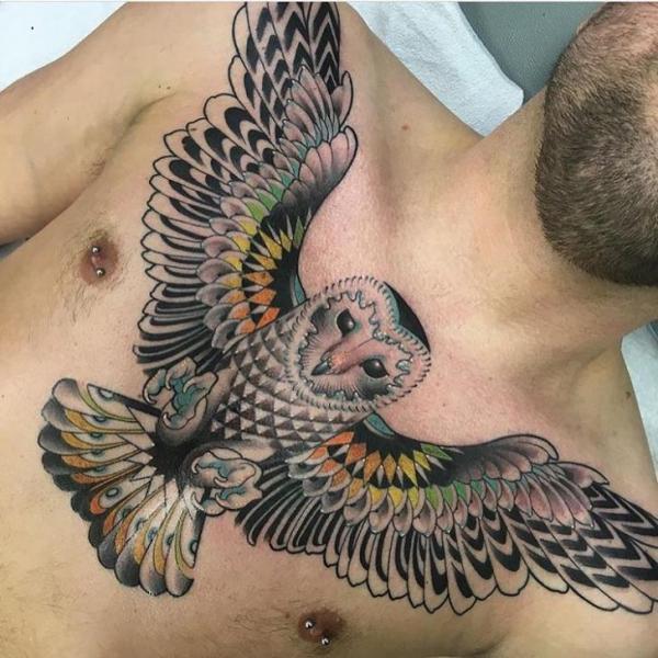 Chest Owl Tattoo by Black Anvil Tattoo