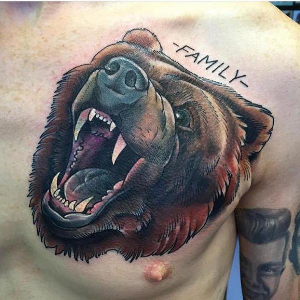 Realistic Chest Bear Tattoo by Black Anvil Tattoo
