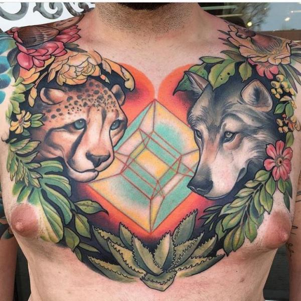 Realistic Chest Wolf Gepard Tattoo by Black Anvil Tattoo