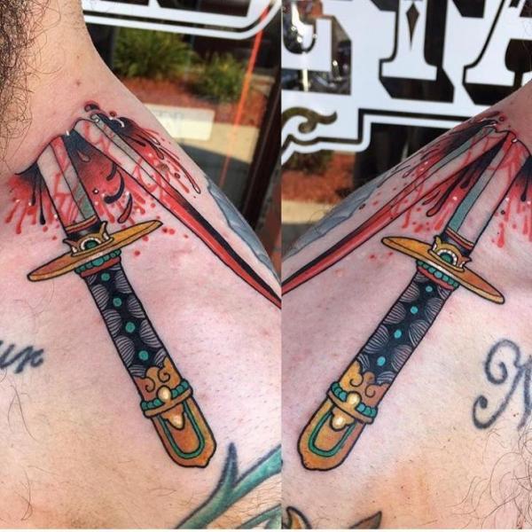 Neck Dagger Blood Tattoo by Black Anvil Tattoo