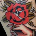 tatuaje Old School Flor Rosa por Black Anvil Tattoo