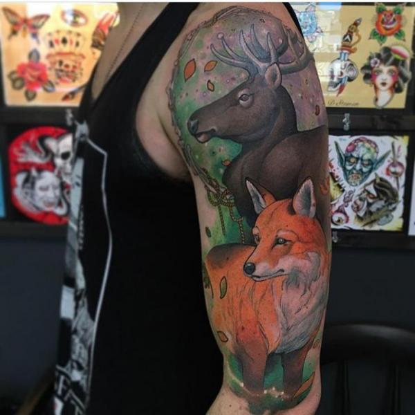 Shoulder Arm Realistic Goose Fox Tattoo by Black Anvil Tattoo