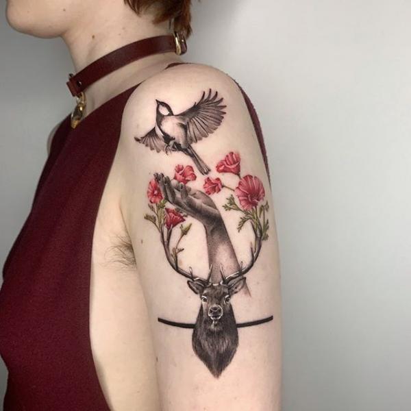 Arm Flower Hand Bird Deer Tattoo by Dot Ink Group